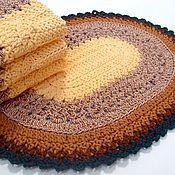 Для дома и интерьера handmade. Livemaster - original item Knitted Oval Multicolored Cord Mat. Handmade.