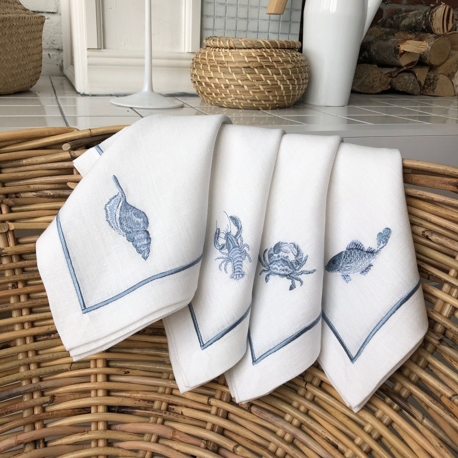 Napkins with embroidery 'Inhabitants of the sea', Tablecloths, Moscow, Фото №1