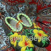 Обувь ручной работы. Ярмарка Мастеров - ручная работа Войлочные тапочки Цветы. Handmade.