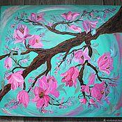 Картины и панно handmade. Livemaster - original item Oil painting the Edge where the Magnolia blooms. Handmade.