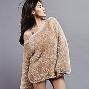 Одежда handmade. Livemaster - original item Sweater womens beige fluffy one shoulder. Handmade.