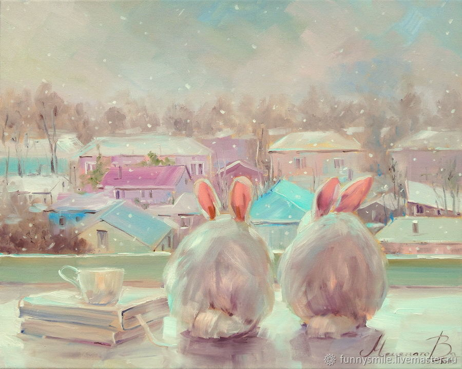 Oil painting on canvas. The first snow. White rabbits, Pictures, Moscow, Фото №1