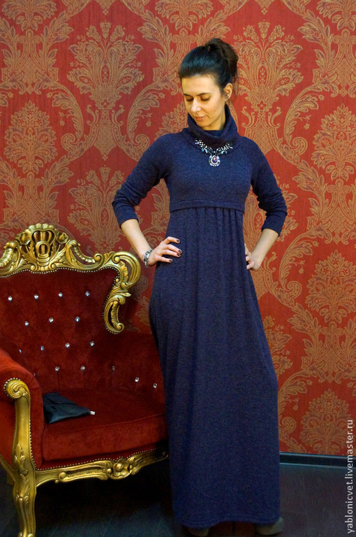 Платья ручной работы. Ярмарка Мастеров - ручная работа. Купить платье трикотажное. Handmade. Тёмно-фиолетовый, Платье нарядное