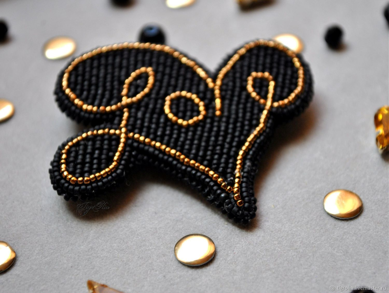 Brooches handmade. Livemaster - handmade. Buy The brooch 'LOVE'.Love, black, bronze, beads, beads toho