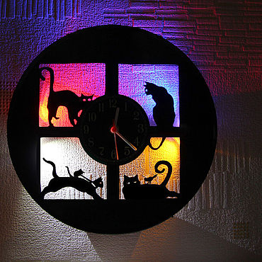 For home and interior handmade. Livemaster - original item Vinyl record Wall clock with LED light 4 kittens. Handmade.