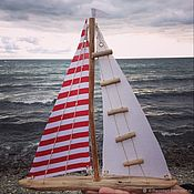 Для дома и интерьера handmade. Livemaster - original item Drift wood boat with striped Sails. Handmade.