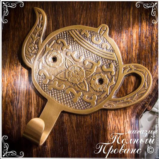 Декупаж и роспись ручной работы. Ярмарка Мастеров - ручная работа. Купить Вешалка Чайник 1 крючок, золото антик 1247. Handmade.