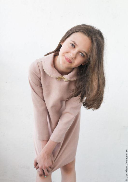 Одежда для девочек, ручной работы. Ярмарка Мастеров - ручная работа. Купить Розовое детское шерстяное платье с круглым воротником и бантиком. Handmade.