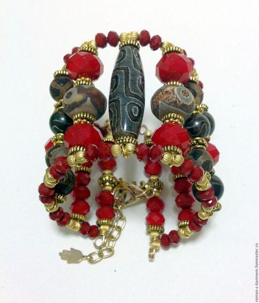 Двухрядный браслет и серьги из хрусталя и тибетского агата Дзи в восточном стиле.Уникальный дорогой подарок для стильных женщин и девушек.
