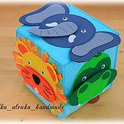 """Куклы и игрушки ручной работы. Ярмарка Мастеров - ручная работа Развивающий кубик-игра """"Чей нос? Дикие животные."""". Handmade."""