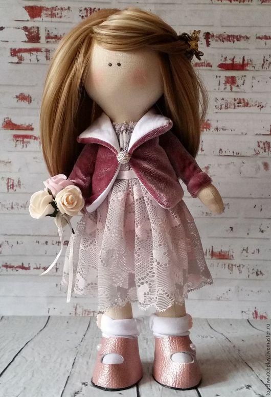 Человечки ручной работы. Ярмарка Мастеров - ручная работа. Купить Нежная красавица. Handmade. Бледно-розовый, текстильная кукла
