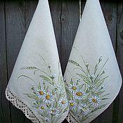 Для дома и интерьера handmade. Livemaster - original item Linen towels with paintings of Chamomile mood. Handmade.