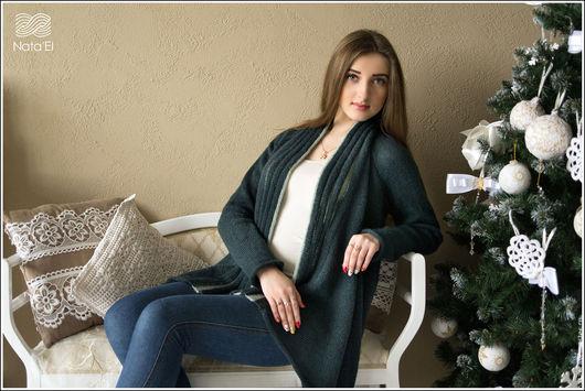 """Кофты и свитера ручной работы. Ярмарка Мастеров - ручная работа. Купить Кардиган """"Новогодний"""". Handmade. Тёмно-зелёный, кофта"""
