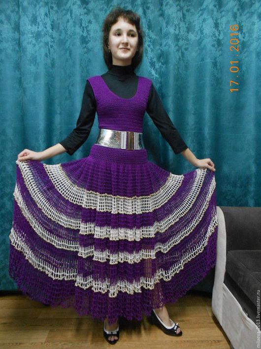Платья ручной работы. Ярмарка Мастеров - ручная работа. Купить Платье.. Handmade. Тёмно-фиолетовый, платье в пол, сарафан в пол