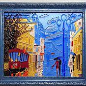 """Картины и панно ручной работы. Ярмарка Мастеров - ручная работа Картина из стекла """"Дождь"""". Handmade."""