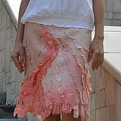 "Одежда ручной работы. Ярмарка Мастеров - ручная работа Шёлковая, валяная юбка "" Розовые кораллы"". Handmade."