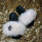 Шлёпки ручной работы. Ярмарка Мастеров - ручная работа Шлёпки с мехом финского аукционного песца. Handmade.