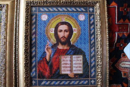 Иконы ручной работы. Ярмарка Мастеров - ручная работа. Купить Икона Иисус Христос Спаситель. Handmade. Комбинированный, стекло
