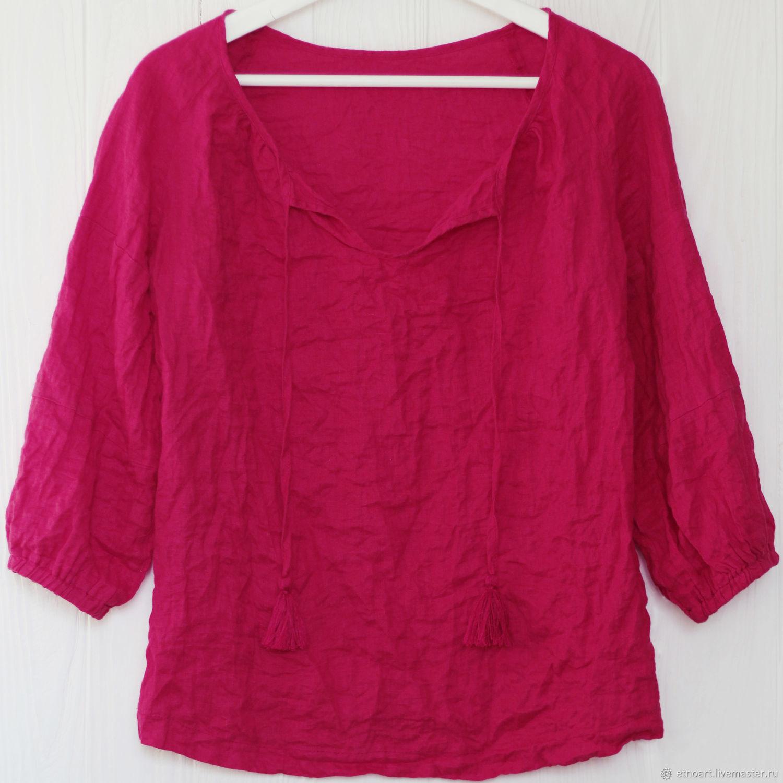 Cherry boho blouse made of 100% linen, Blouses, Tomsk,  Фото №1