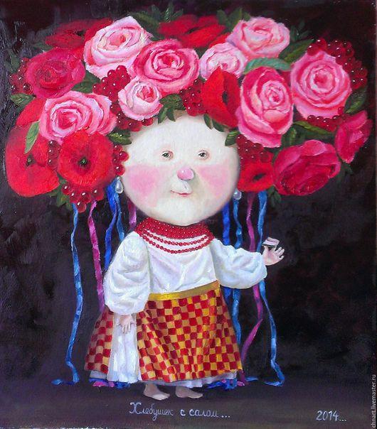 """Репродукции ручной работы. Ярмарка Мастеров - ручная работа. Купить картина """"Хлебушек с салом"""". Handmade. Комбинированный, девочка, гапчинская, розы"""