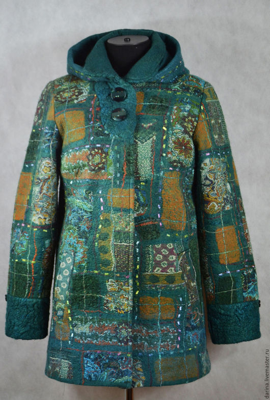 Верхняя одежда ручной работы. Ярмарка Мастеров - ручная работа. Купить пальто валяное с капюшоном. Handmade. Морская волна
