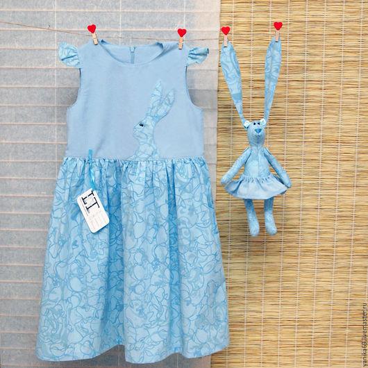 Одежда для девочек, ручной работы. Ярмарка Мастеров - ручная работа. Купить Нарядное детское голубое платье  и зайка. Handmade. Голубой