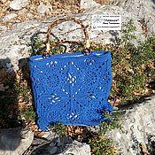 Сумки и аксессуары handmade. Livemaster - original item Classic bag: Blue openwork squares. Handmade.