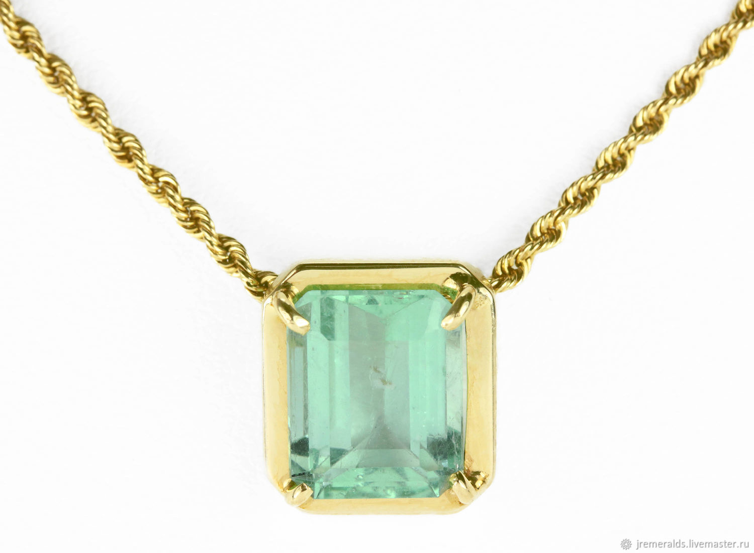 3.80ct Gold Emerald Necklace 14K,May Birthstone necklace,Natural Colom, Pendants, West Palm Beach,  Фото №1