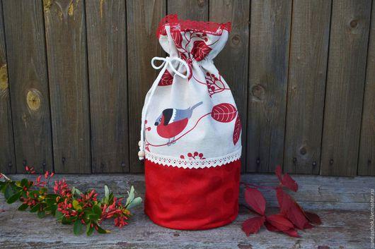"""Кухня ручной работы. Ярмарка Мастеров - ручная работа. Купить Льняной мешочек-торбочка """"Снегири"""", мешочек новогодний. Handmade."""