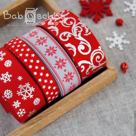 """Шитье ручной работы. Ярмарка Мастеров - ручная работа. Купить Набор лент """"Новогодний-красный"""" 4 лент. Handmade. Лента"""