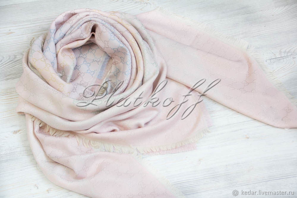 Pink handkerchief fabric multicolour Gucci Monogram, Shawls1, Moscow,  Фото №1