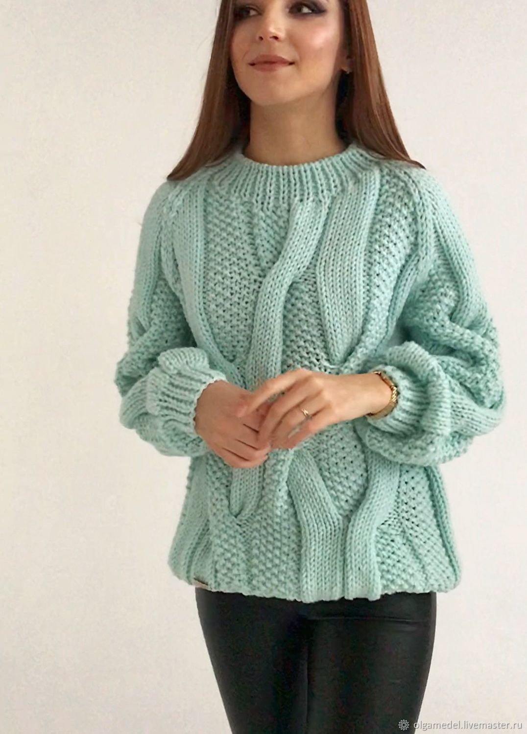 Jerseys: Women's large knit sweater with braids oversize mint color, Sweaters, Yoshkar-Ola,  Фото №1