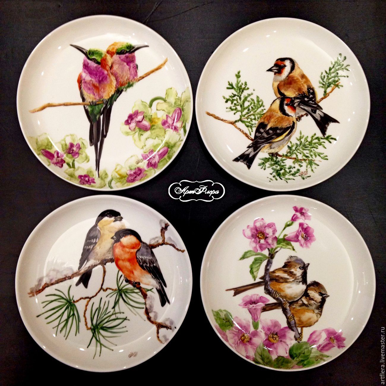 Painted porcelain. Plates on the wall bullfinches, hummingbirds, sparrows, goldfinches, Plates, Kazan,  Фото №1