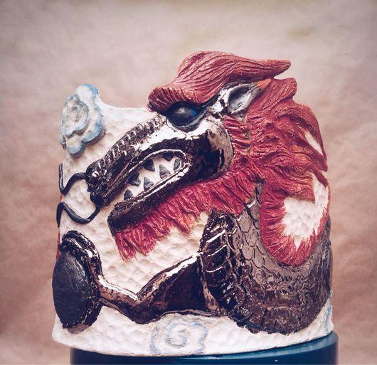 Кашпо ручной работы. Ярмарка Мастеров - ручная работа. Купить Кашпо для цветов с китайским золотым драконом. Handmade. Золотой дракон