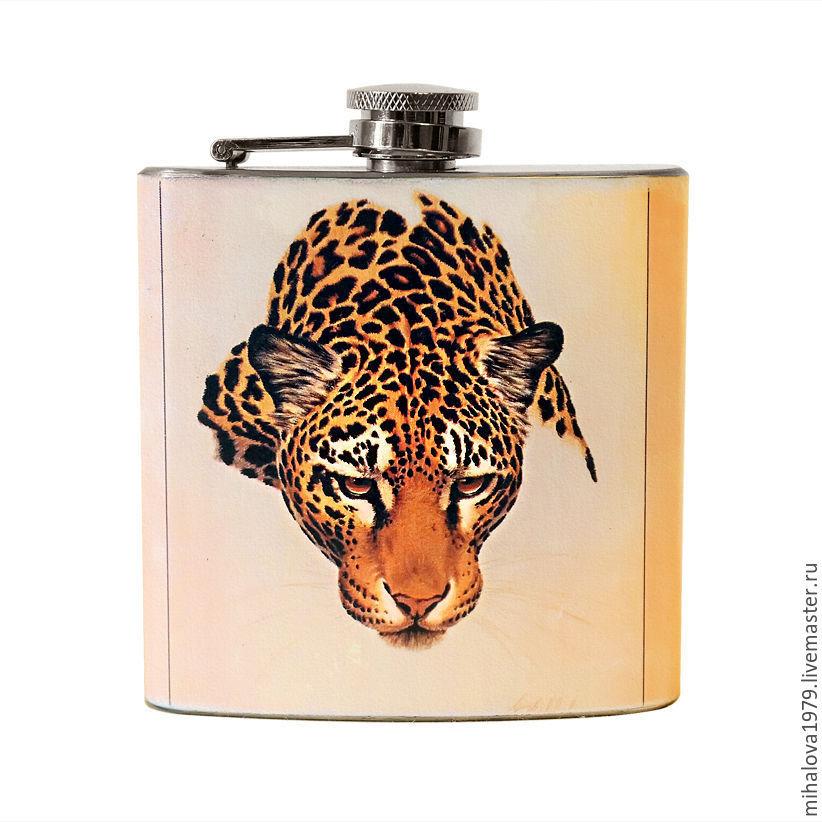 """Подарки для мужчин, ручной работы. Ярмарка Мастеров - ручная работа. Купить Фляжка """"Леопард"""". Handmade. Лев, охота, фляга"""