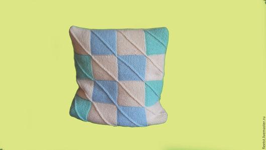 Текстиль, ковры ручной работы. Ярмарка Мастеров - ручная работа. Купить Чехлы для диванных подушек. Handmade. Мятный, полушерстяная пряжа