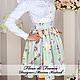 Платья ручной работы. Платье ФФ-01-А-Белое с цветной юбкой. Marussia / Маруся. Интернет-магазин Ярмарка Мастеров.