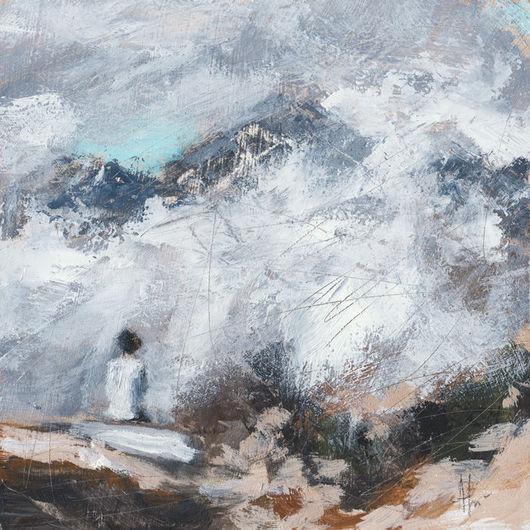 Пейзаж ручной работы. Ярмарка Мастеров - ручная работа. Купить В горах.... Handmade. Белый, голубой, одиночество, пейзаж, дым