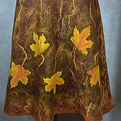 Одежда ручной работы. Ярмарка Мастеров - ручная работа юбка валяная с кленовыми листьями+безрукавка. Handmade.