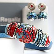 """Украшения ручной работы. Ярмарка Мастеров - ручная работа Комплект Regaliz """" Морское путешествие"""" браслет и серьги. Handmade."""