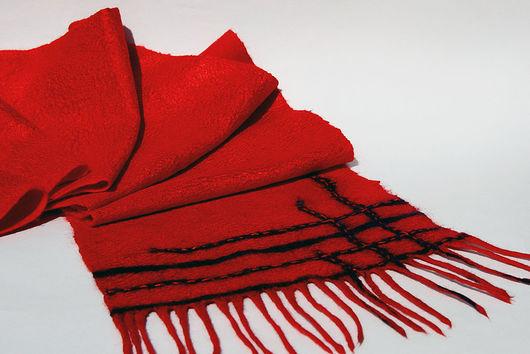 Шарф валяный. Красный шарф. Купить шарф шерстяной. Подарок для мужчин, мужской подарок, подарок для женщины, шарф в подарок, шерстяной шарф подарок на 8 марта, подарок на 23 феврвля.