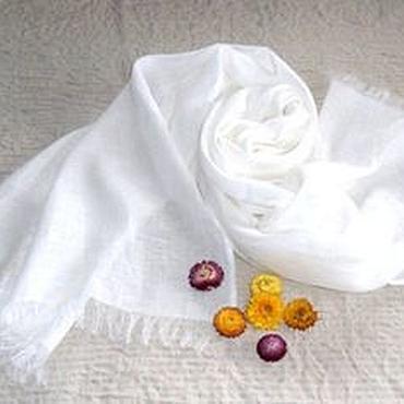 Аксессуары ручной работы. Ярмарка Мастеров - ручная работа Белое облако - Льняной широкий шарф - палантин. Handmade.