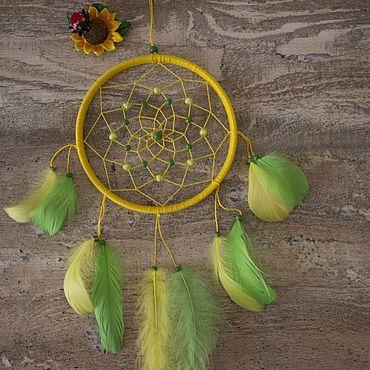 Для дома и интерьера ручной работы. Ярмарка Мастеров - ручная работа Ловец снов - Зеленый попугай. Handmade.