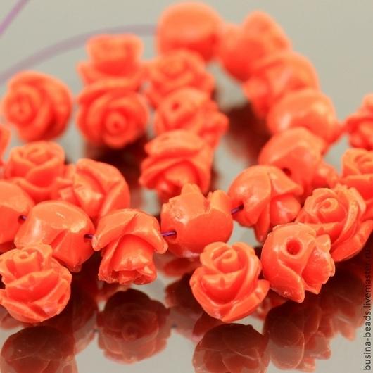 Бусины Розочка кораллового цвета из полимера имитирующего натуральный коралл для сборки украшений диаметром около 8 мм комплектами по 5 штук