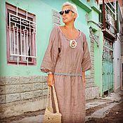 Одежда ручной работы. Ярмарка Мастеров - ручная работа Бохо платье из льна. Какао.. Handmade.