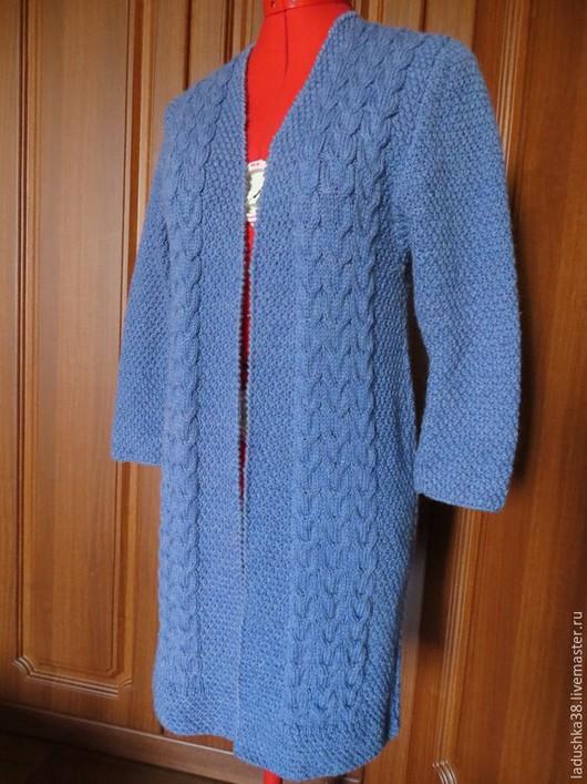 """Пиджаки, жакеты ручной работы. Ярмарка Мастеров - ручная работа. Купить Кардиган """"Уютный"""". Handmade. Синий, однотонный, кардиган вязаный"""