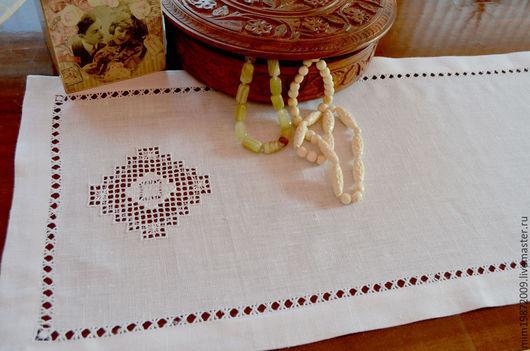 Белая льняная дорожка салфетка со строчевой вышивкой, мережки, подгибка конвертом, украшение для стола, средиземноморский стиль, русский стиль, Дачный интерьер
