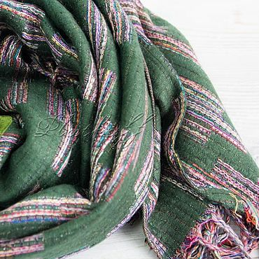 Accessories handmade. Livemaster - original item Tweed green scarf from Chanel fabric. Handmade.