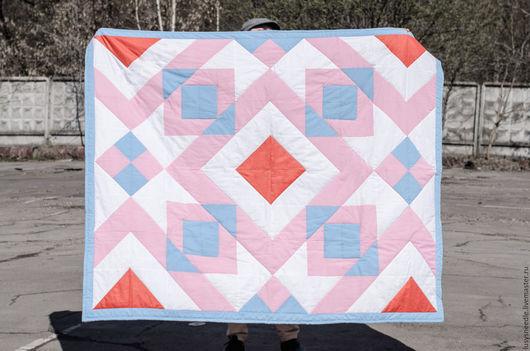 """Текстиль, ковры ручной работы. Ярмарка Мастеров - ручная работа. Купить Лоскутное одеяло """"Любимая геометрия"""". Handmade. Бледно-розовый"""