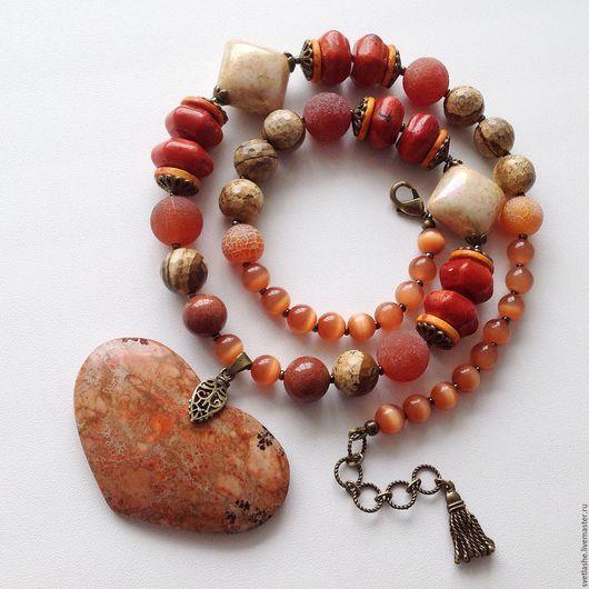 Колье бусы ожерелье с подвеской сердце из яшмы Агата авантюрина коралла кошачьего глаза купить в подарок девушке женщине любимой подруге комплект украшений из натуральных камней